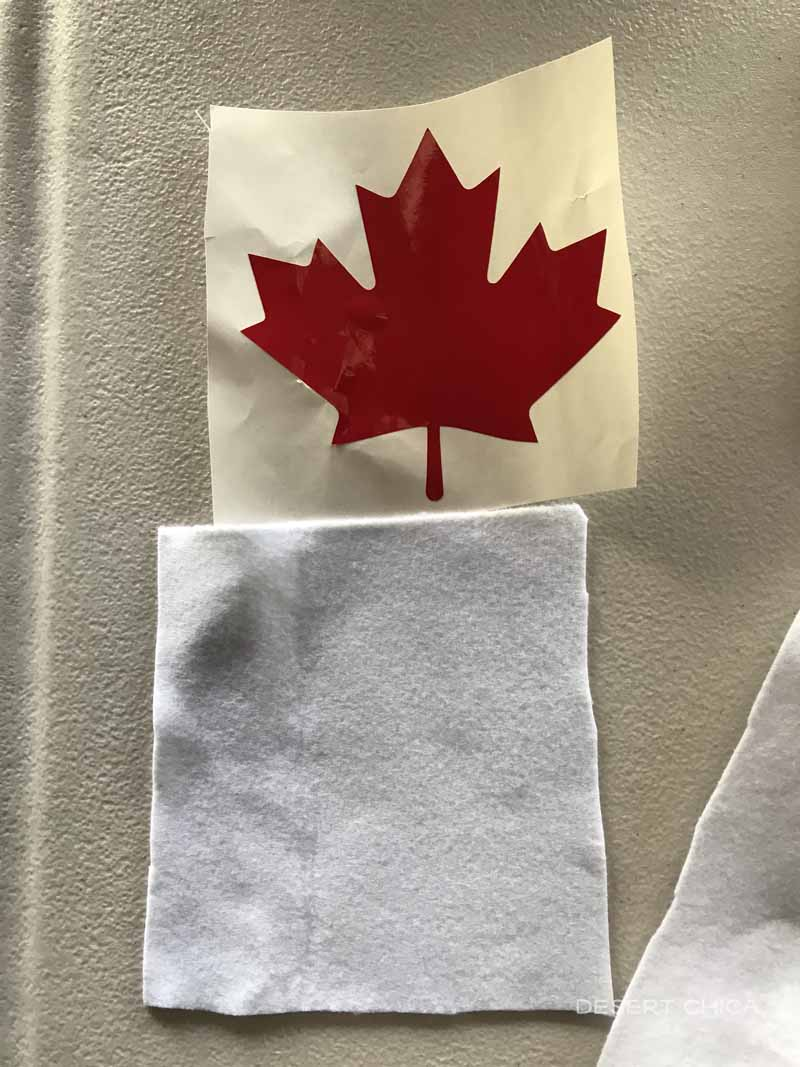 red maple leaf sticker and white felt scrap