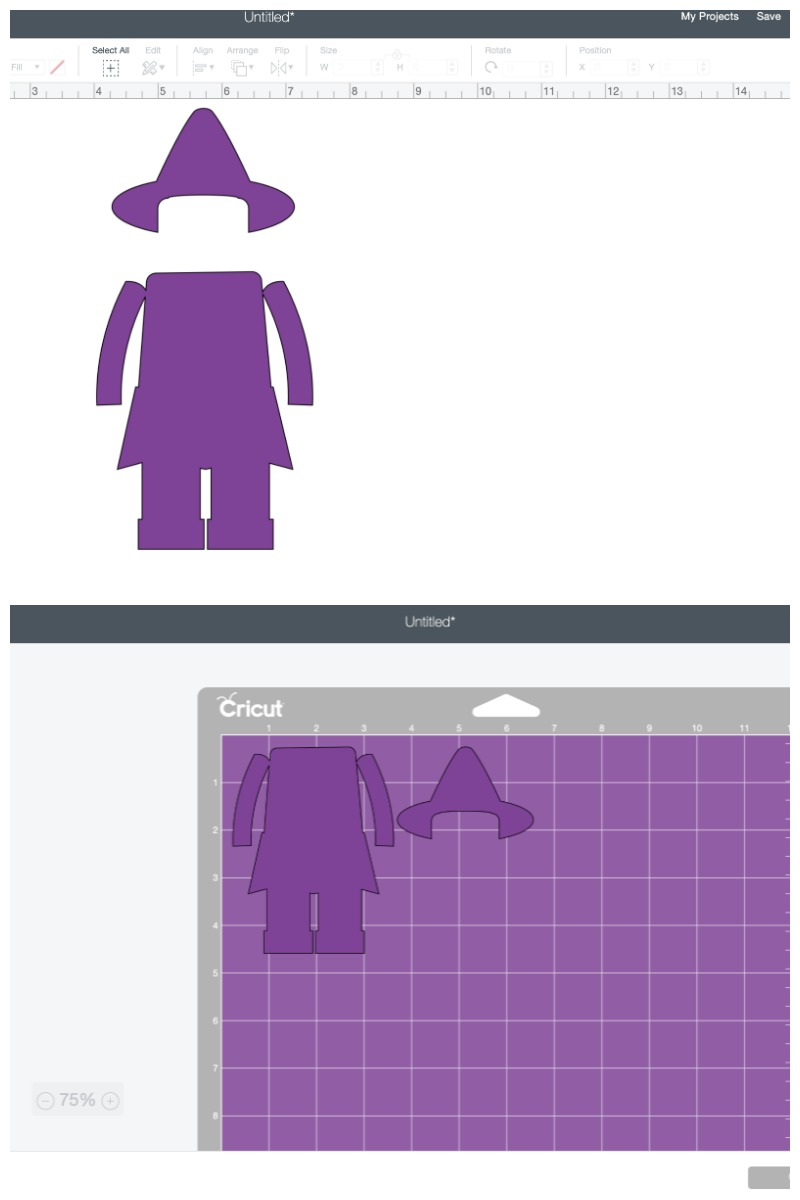 Screenshot of LEGO Witch SVG template