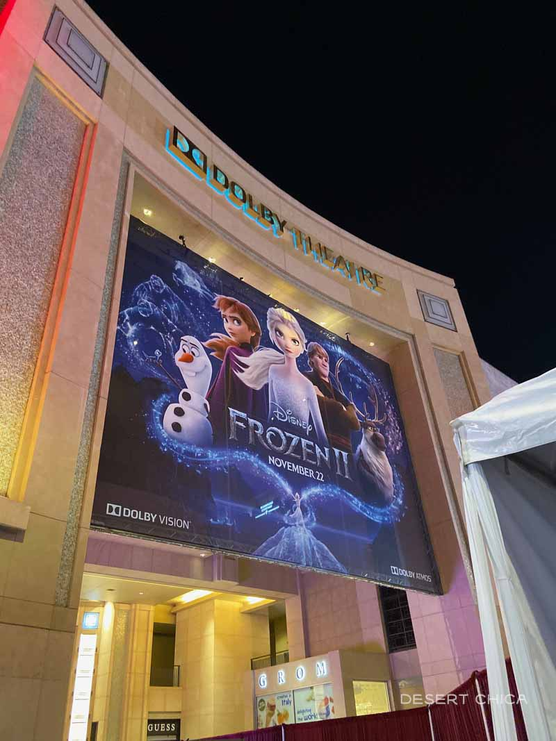 Frozen 2 sign at Dolby Theater in Hollywood