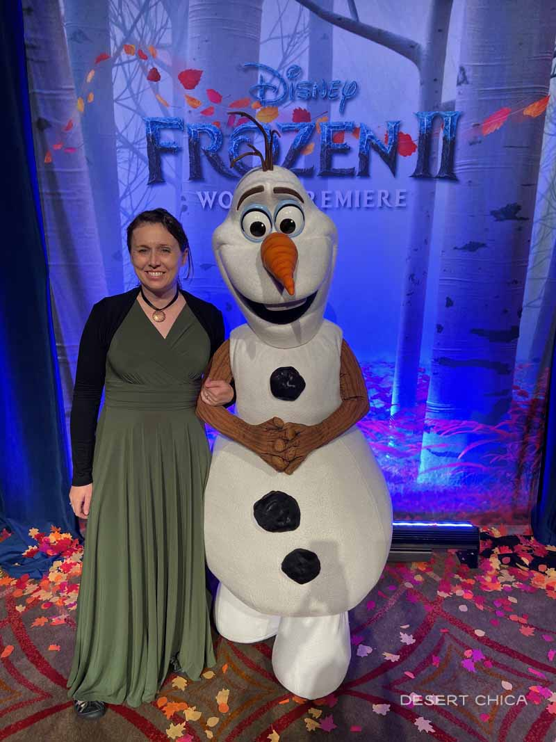 Olaf and woman at Frozen 2 premiere