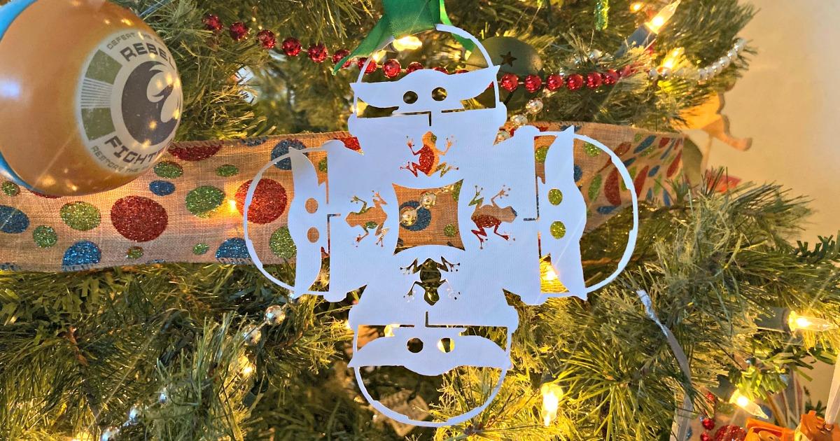 Baby Yoda Snowflake hanging on Xmas Tree