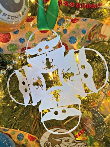 Baby Yoda Snowflake hanging in Christmas Tree