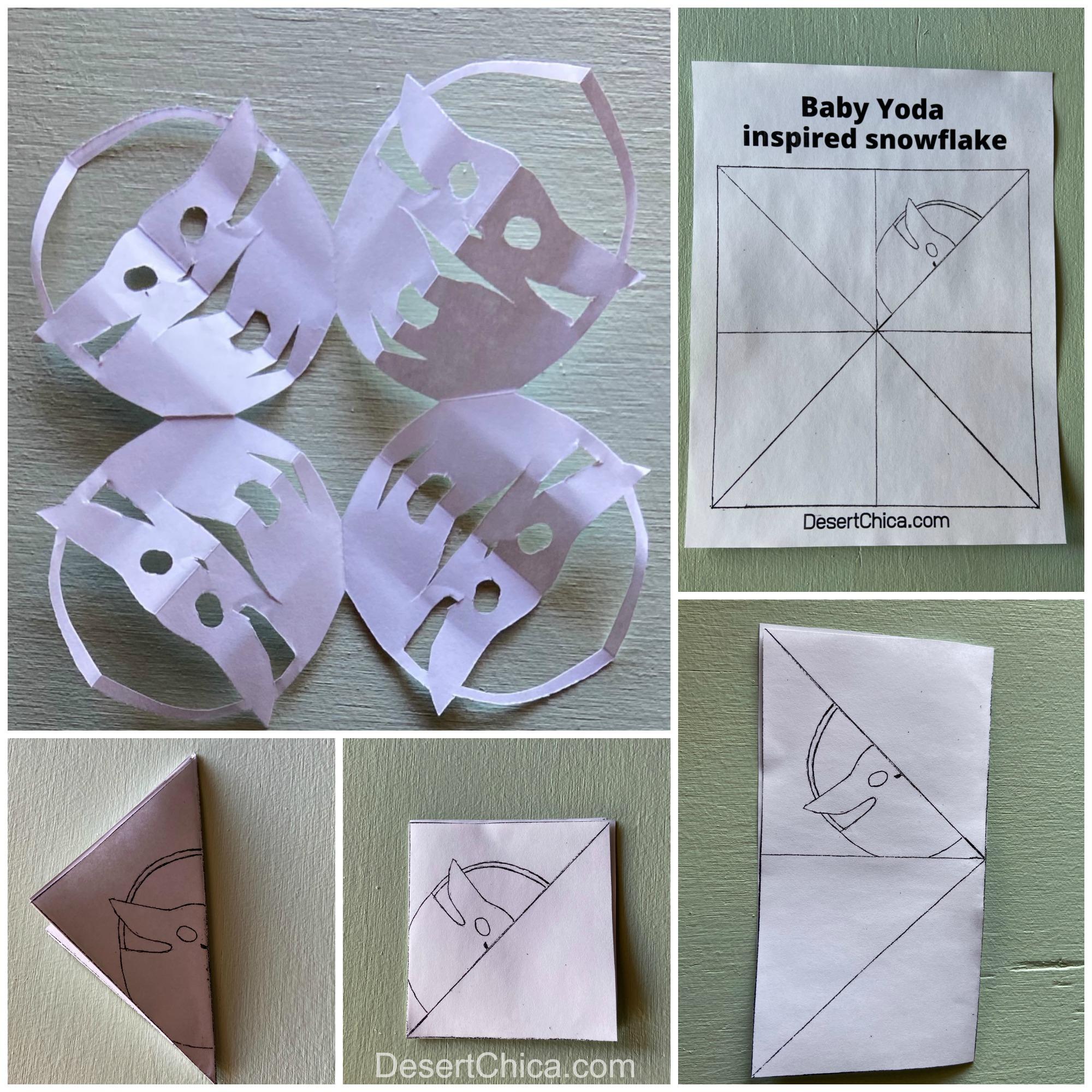 paper snowflakes baby yoda shapes