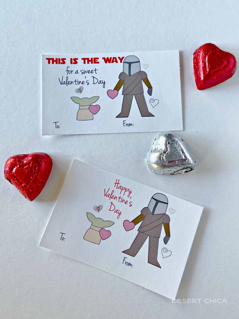 chocolate hearts with star wars valentines featuring baby yoda and mandalorian