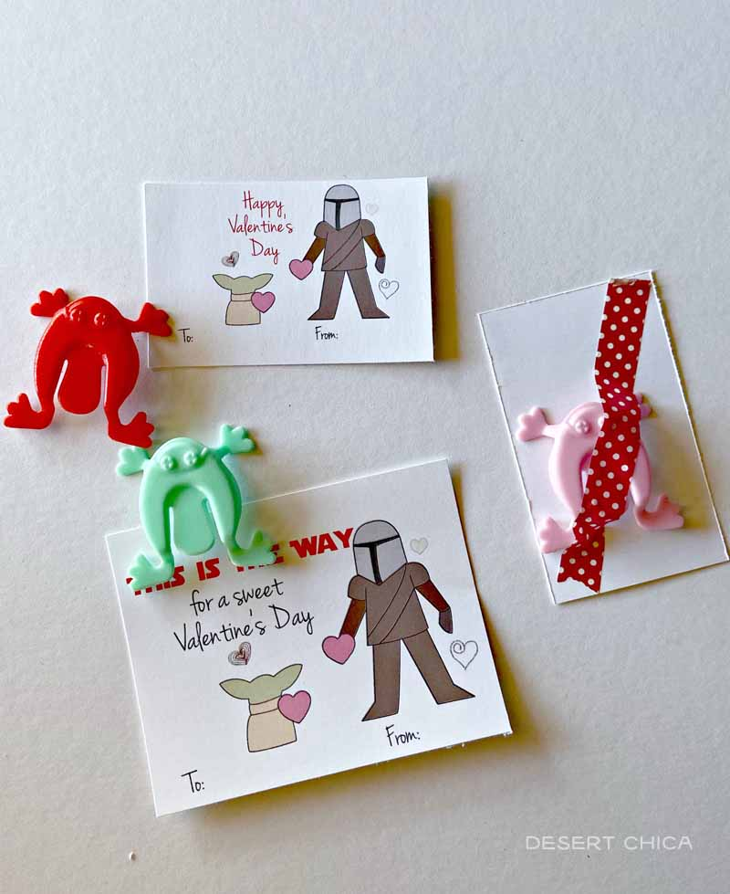 plastic frog toys with Baby Yoda Valentines