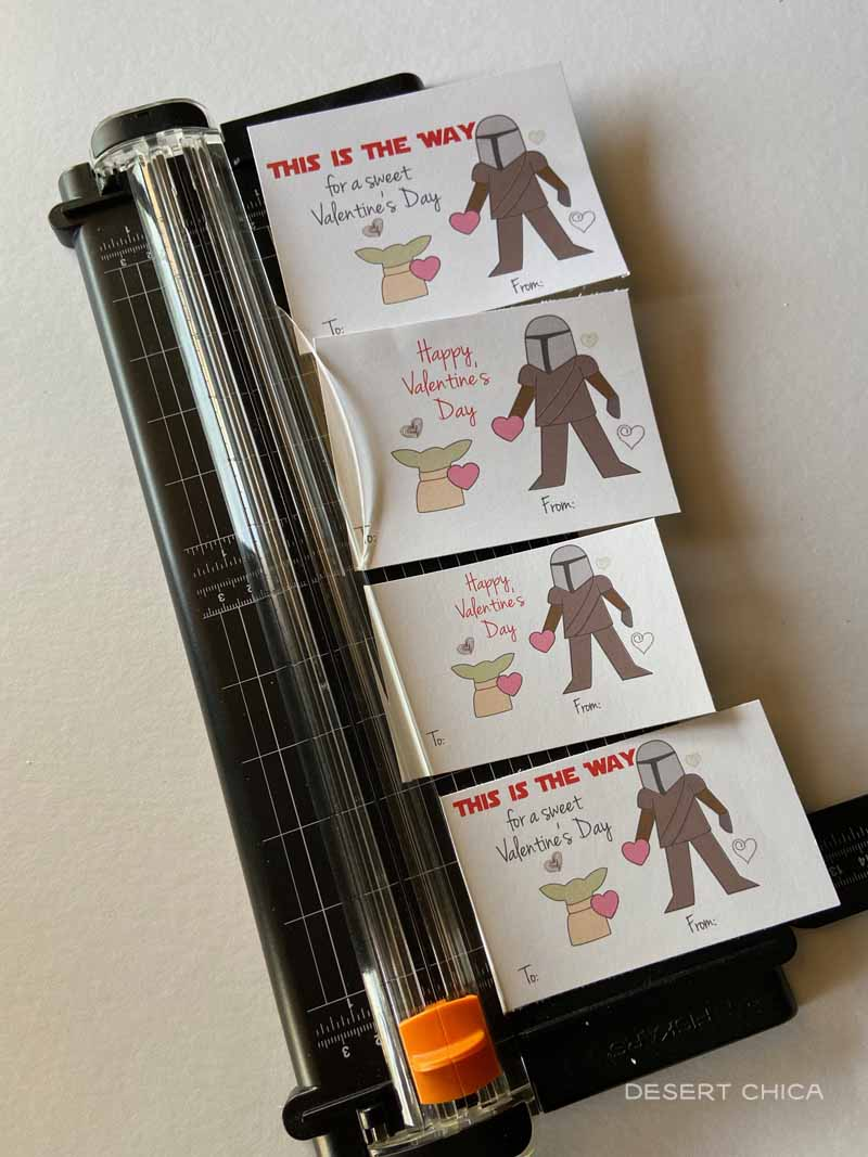 Paper trimmer with printed Baby Yoda Mandalorian Valentines
