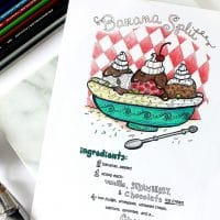 Banana Split Recipe Adult Coloring Page
