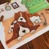 Basset Hound Life Vintage-Inspired Dog Coloring Page for Adults