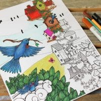 """Home Tweet Home"" Birds Coloring Page for Adults"