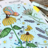 """Butterfly Garden"" Butterfly Coloring Page for Adults"