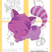 Printable Alice in Wonderland Color Count Pages
