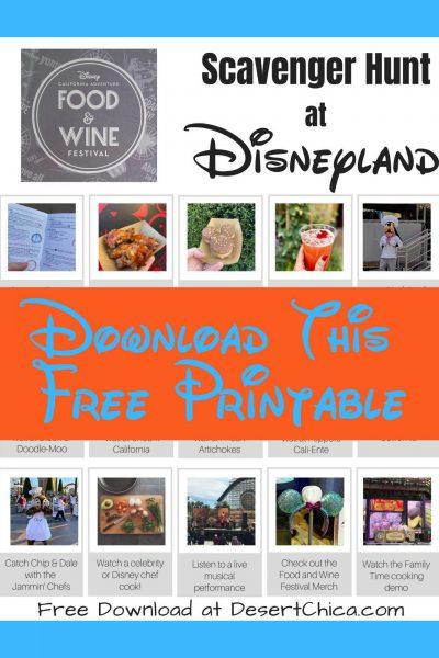 Disneyland Food and Wine Festival Scavenger Hunt