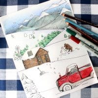 Snowy Mountain Country Free Adult Coloring Page for Winter