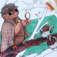Whooodunnit? Sherlock Holmes Owl Coloring Page