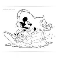 Mickey and Donald Fishing Coloring Page