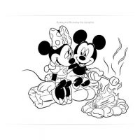Mickey and Minnie Campfire Coloring Page
