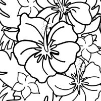 Free Hibiscus Coloring Page for Kids and Adults