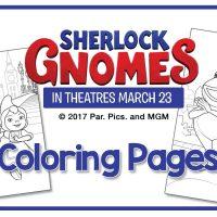 Free printable coloring sheets from Sherlock Gnomes!