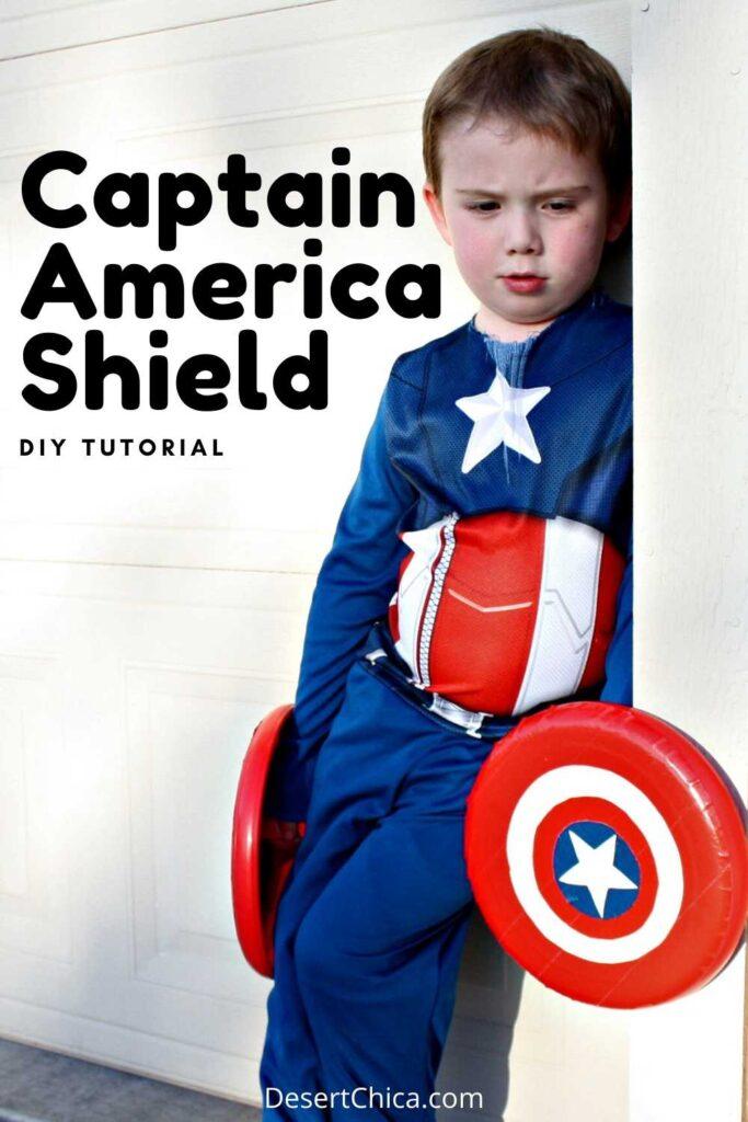 Boy dressed as Captain America holding a DIY Captain America Shield