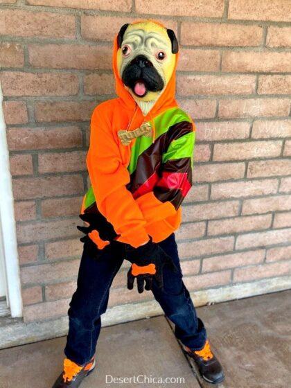 orange hoodie dog costume