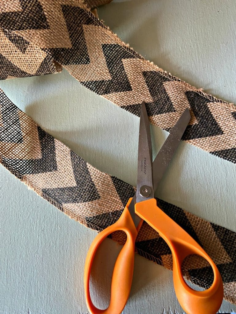 burlap ribbon with black chevron design