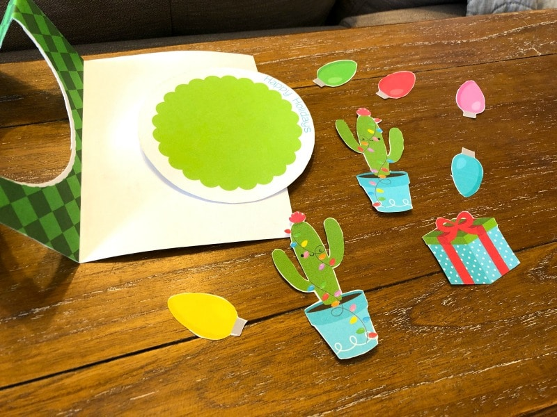 Christmas Cactus Card details cut out and ready to craft it