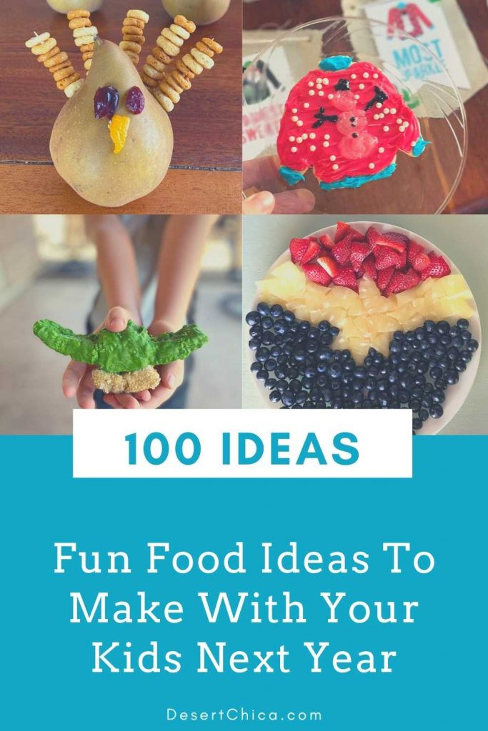 4 food craft ideas pictured for fun food ideas to make year round with kids