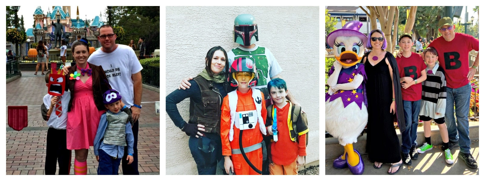 3 pictures of a family wearing Disney costume themes