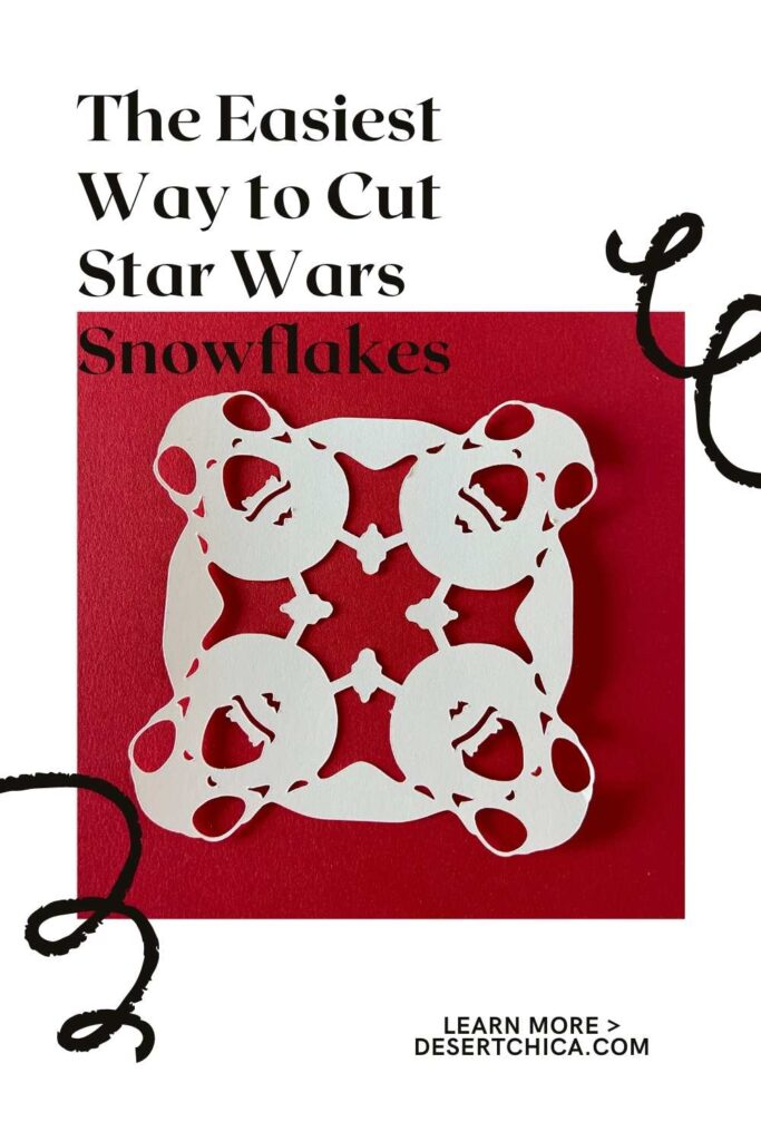 Porg Snowflake example for how to cut out Star Wars Snowflakes using your Circut Machine instead of scissors