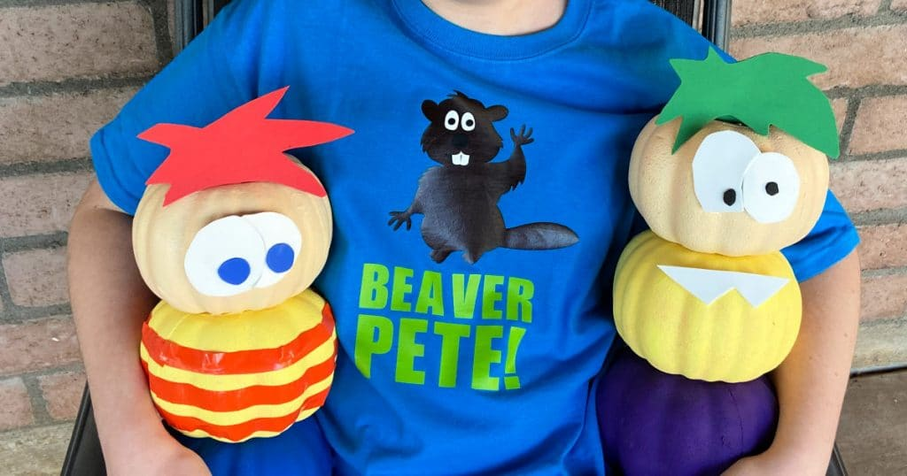 Close up of Beaver Pete shirt with Phineas and Ferb pumpkin crafts