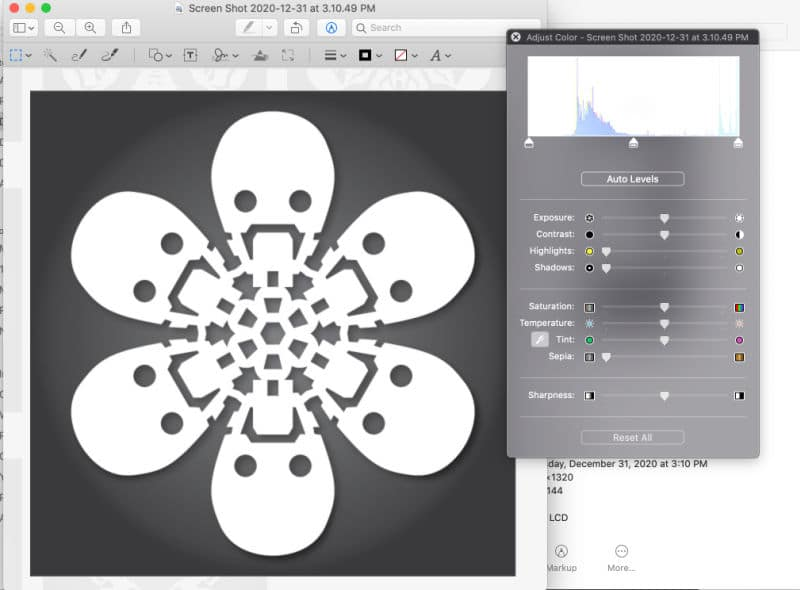 Screenshot of adjusting the colors on the Star Wars Snowflake featuring K2S0