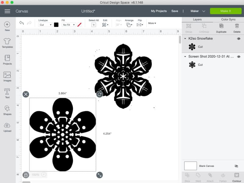 Screenshot of the Star Wars snowflake designs uploaded into Cricut Design Space