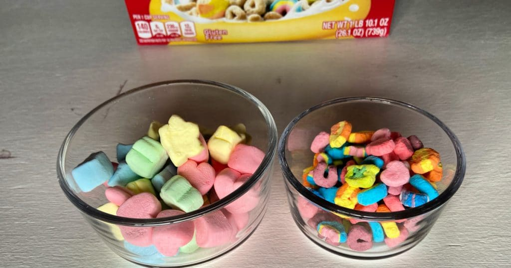 Extra big Lucky Charms marshmallows with traditional small cereal marshmallows