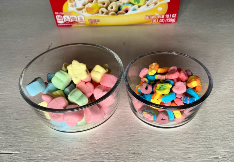 bowl of extra large Lucky Charms Marshmallows along with the Lucky Charms cereal marshmallows only