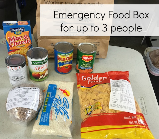 Canned and shelf stable food from a food bank box
