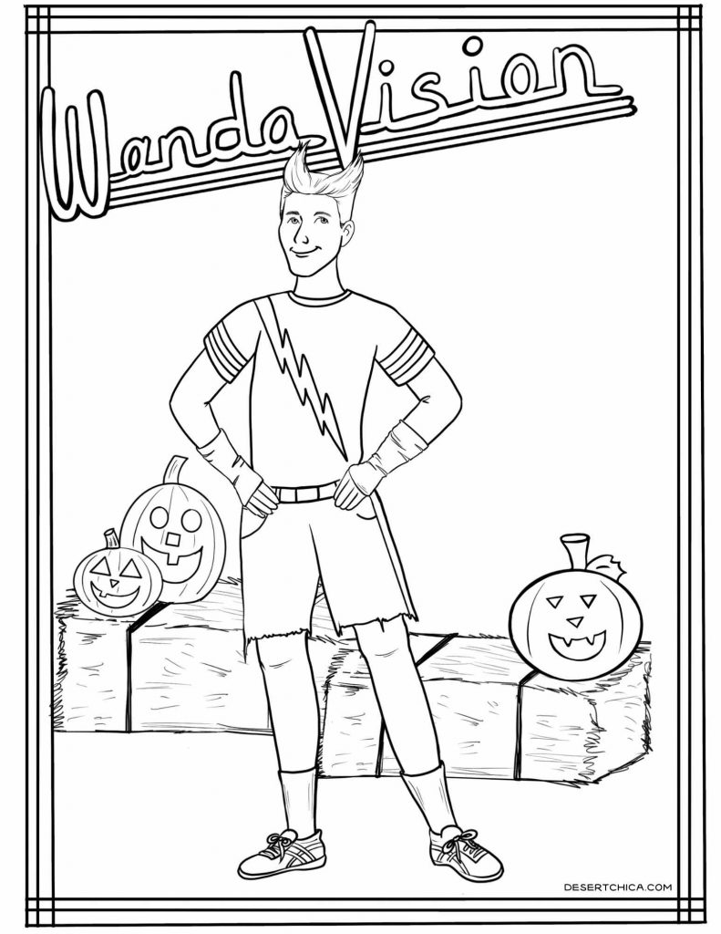 Coloring sheet featuring Pietro during the Halloween episode of WandaVision