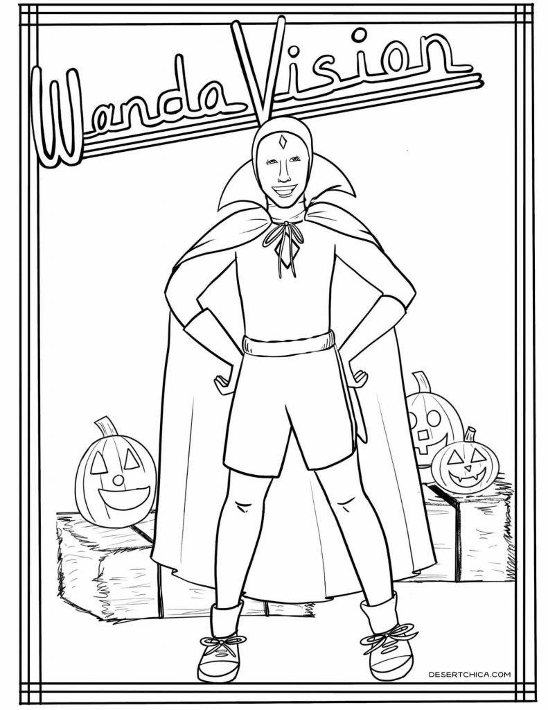 Coloring sheet featuring Vision from the Halloween episode of WandaVision