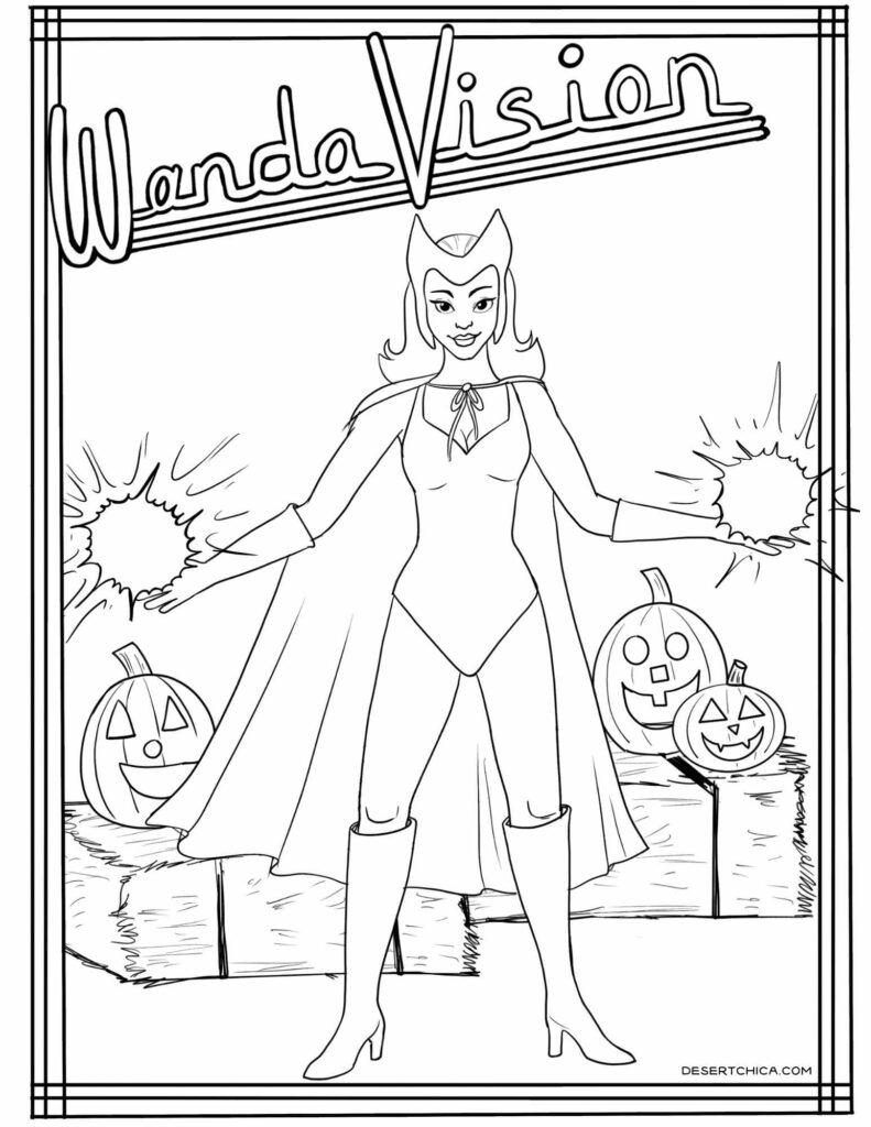 Coloring sheet featuring Wanda from WandaVision Halloween episode