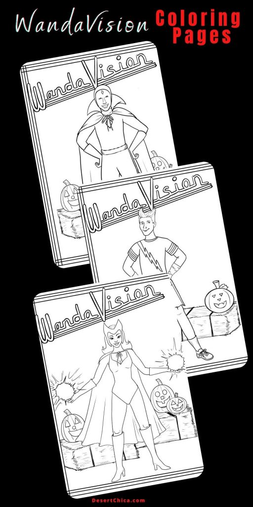 Coloring sheets featuring Wanda, Pietro and Vision