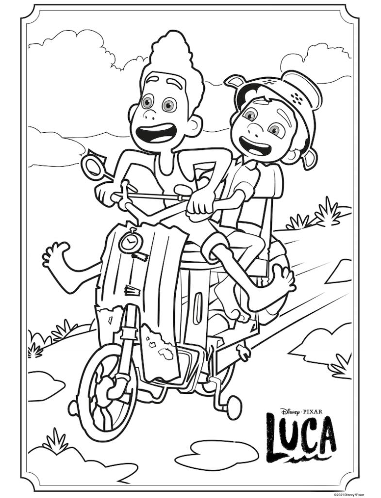 Alberto and Luca riding a Vespa in Disney Pixar's Luca