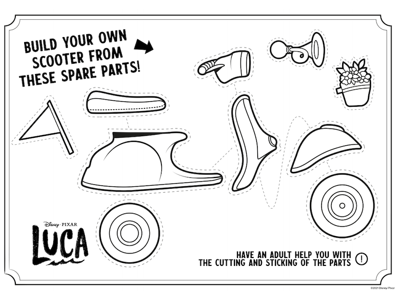 Printable activity page features parts of a Vespa Scooter