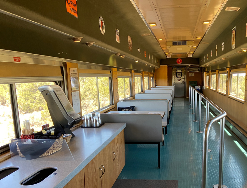 Cafe Car Seating on Grand Canyon Railway