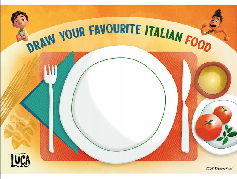 Draw your favorite Italian food printable from Disney PIxar's Luca