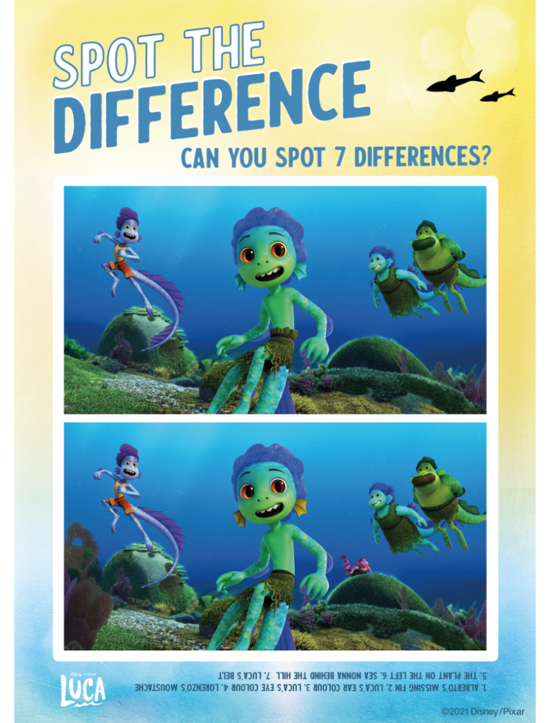 Printable Luca Spot the Difference underwater