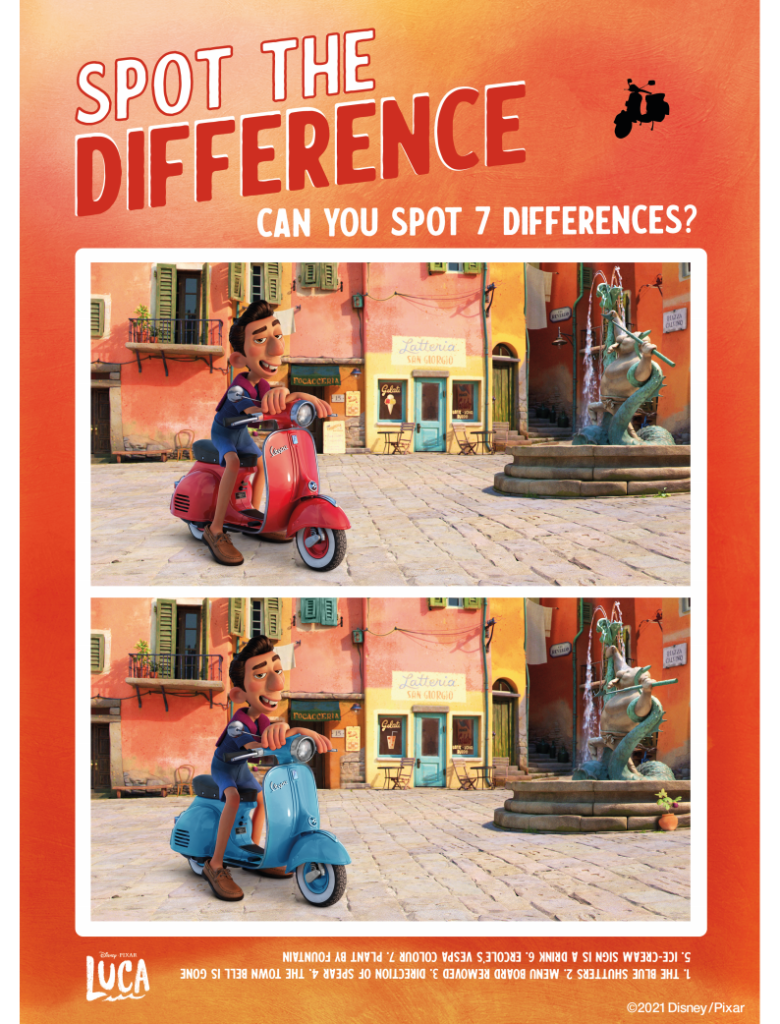 Printable Luca Spot the Difference with Vespa Scooter