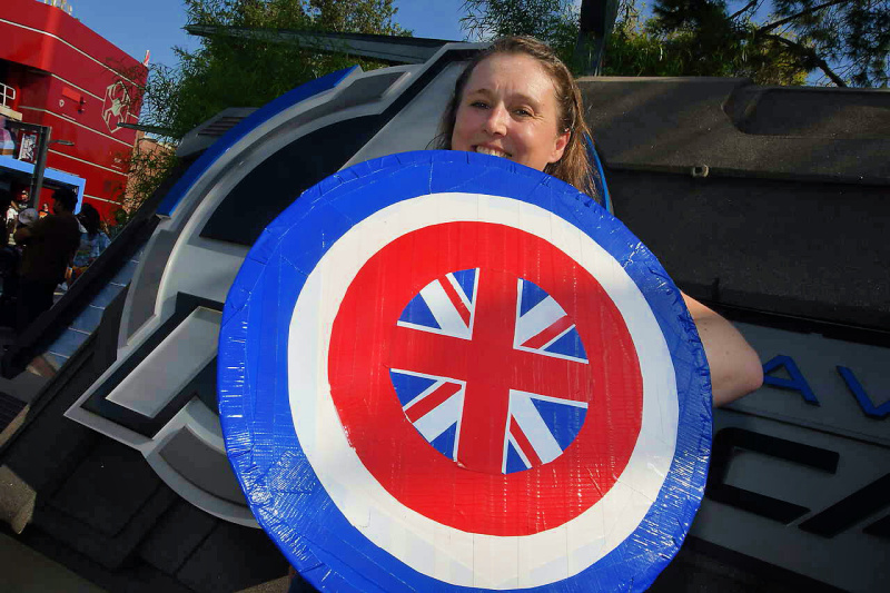 Shield decorated with Union Jack colors and design