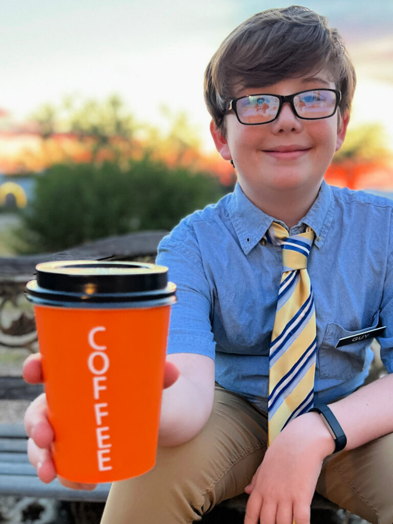 orange paper coffee cup